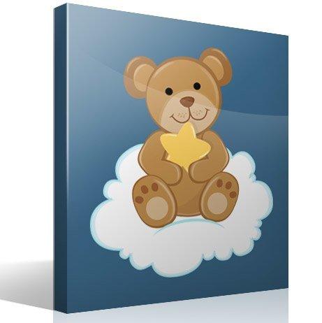Kinderzimmer Wandtattoo: Bär mit Sternen auf der Wolke sitzen