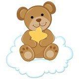 Kinderzimmer Wandtattoo: Bär mit Sternen auf der Wolke sitzen 6