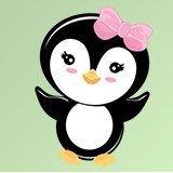 Kinderzimmer Wandtattoo: Penguin rosen Schleife 1