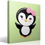 Kinderzimmer Wandtattoo: Penguin rosen Schleife 4