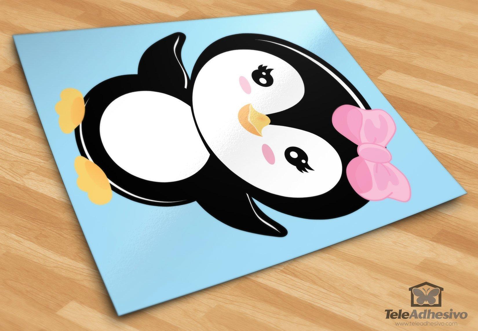 Kinderzimmer Wandtattoo: Penguin rosen Schleife