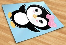 Kinderzimmer Wandtattoo: Penguin rosen Schleife 3