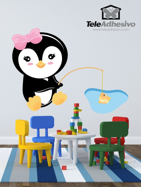 Kinderzimmer Wandtattoo: penguin Fischerei