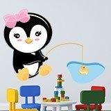 Kinderzimmer Wandtattoo: penguin Fischerei 3