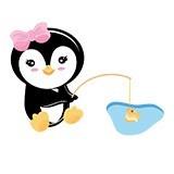 Kinderzimmer Wandtattoo: penguin Fischerei 6