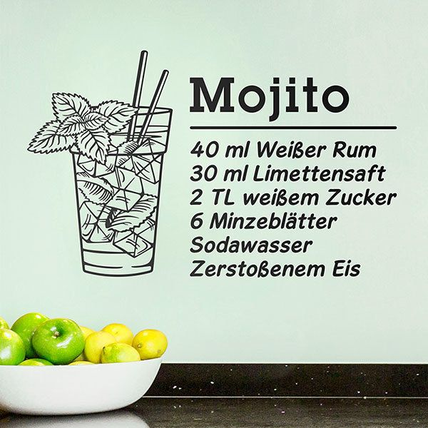 Wandtattoos: Cocktail Mojito - deustch 0