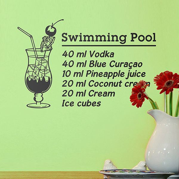 Wandtattoos: Cocktail Swimming Pool - englisch