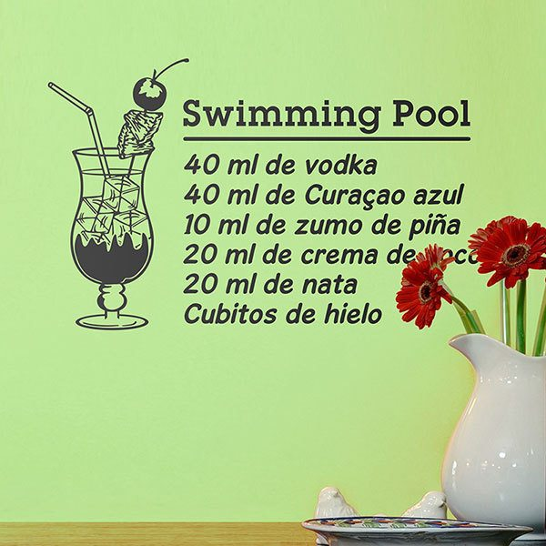 Wandtattoos: Cocktail Swimming Pool - spanisch