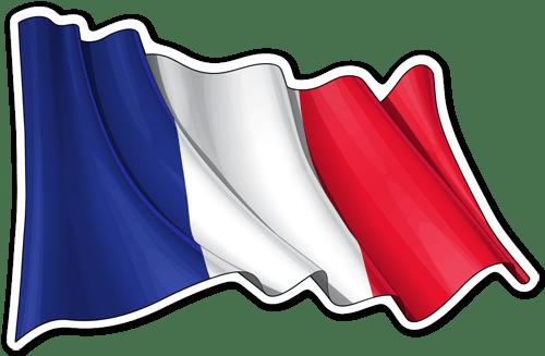 Aufkleber: Flagge von Frankreich winken