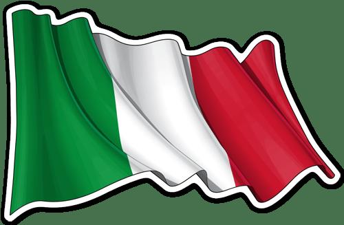 Aufkleber: Italien-Flagge winken