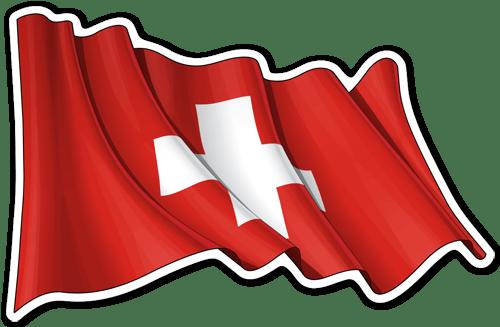 Aufkleber: Flagge der Schweiz winken
