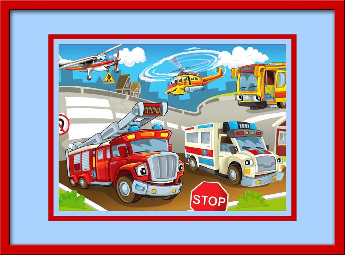 Kinderzimmer Wandtattoo: Einsatzfahrzeuge