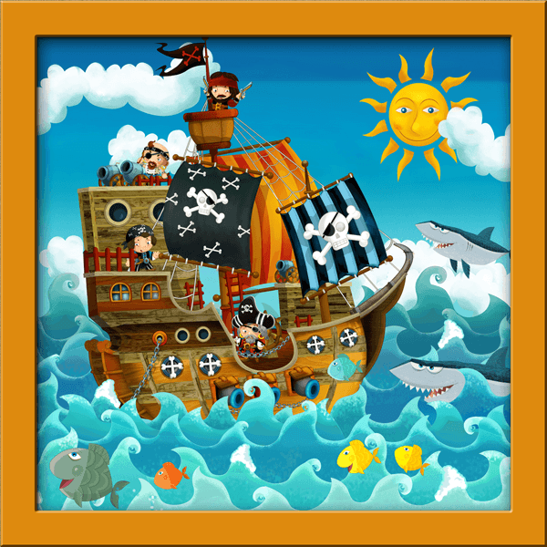 Kinderzimmer Wandtattoo: Piratenschiff