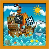 Kinderzimmer Wandtattoo: Piratenschiff 3