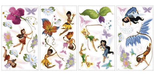 Kinderzimmer Wandtattoo: Disney Fairies Wandtattoo mit Glitter