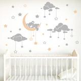 Kinderzimmer Wandtattoo: Tragen schläfrig und Sternenhimmel 0