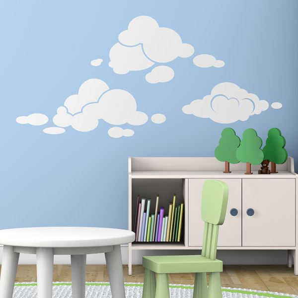 kinderzimmer wandtattoo sonnen wolken regenbogen. Black Bedroom Furniture Sets. Home Design Ideas