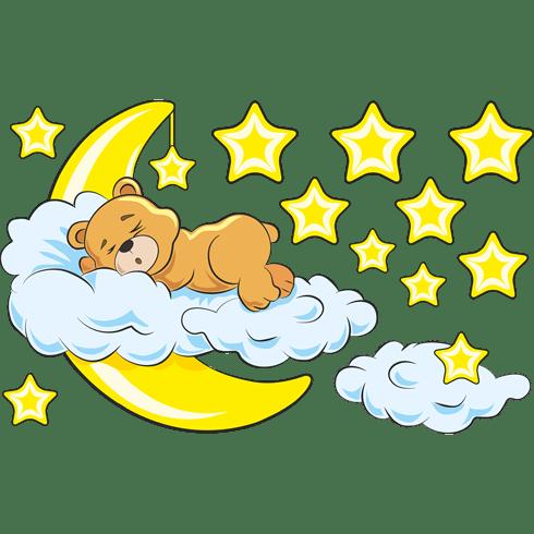 B r in den wolken und mond gelben for Kinderzimmer emily