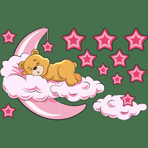 Kinderzimmer Wandtattoo: Bären in den Wolken und Mond rosa