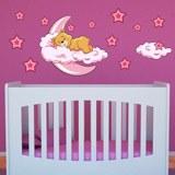 Kinderzimmer Wandtattoo: Bären in den Wolken und Mond rosa 0