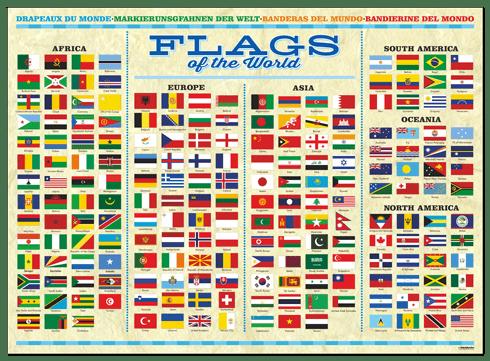 Wandtattoos: Markierunsgfahnen der Welt