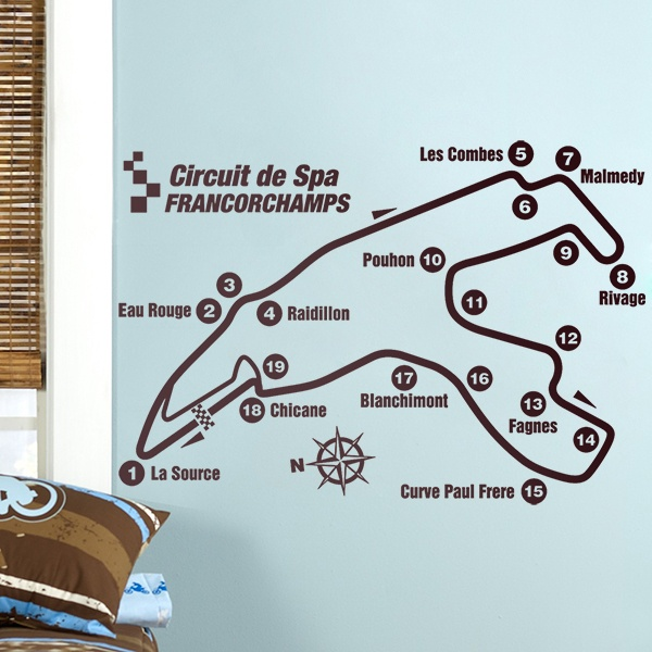 Wandtattoos: Rennstrecken Spa-Francorchamps