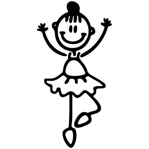 Aufkleber familie f r auto m dchen tanzen ballett for Braune klebefolie