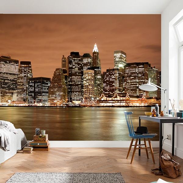 fototapete new york skyline bei nacht. Black Bedroom Furniture Sets. Home Design Ideas