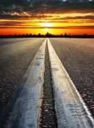Fototapeten: Autobahn bis zum Sonnenuntergang 3