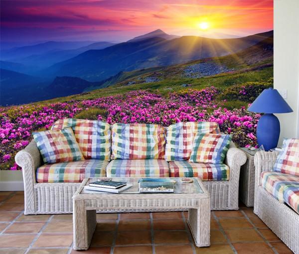 Fototapeten: Pink Flowers  Mountain