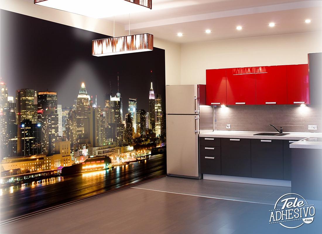 manhattan bei nacht. Black Bedroom Furniture Sets. Home Design Ideas