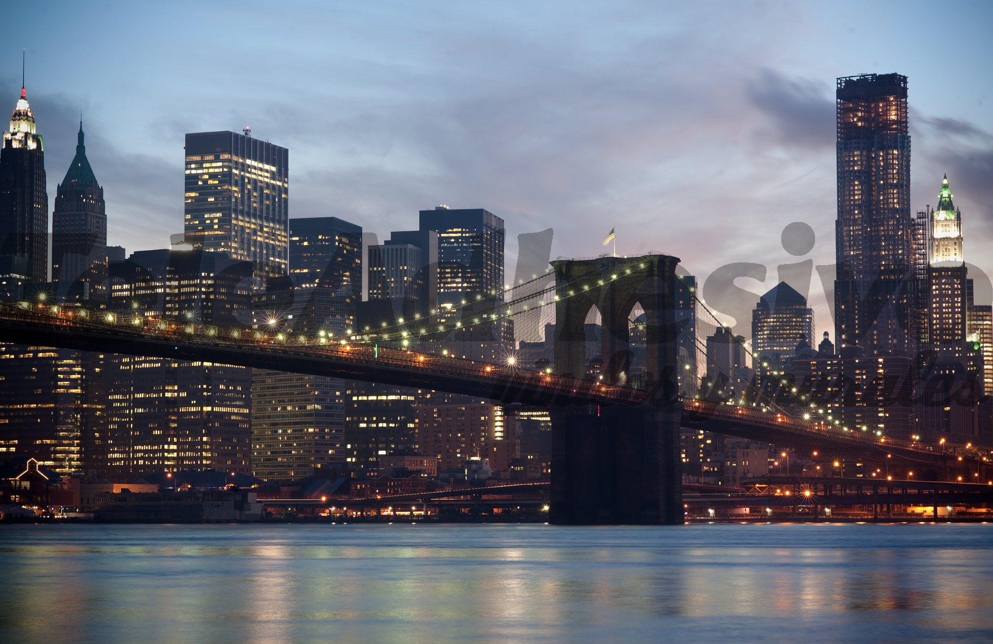 Fototapeten: Brooklyn Bridge im Nebel
