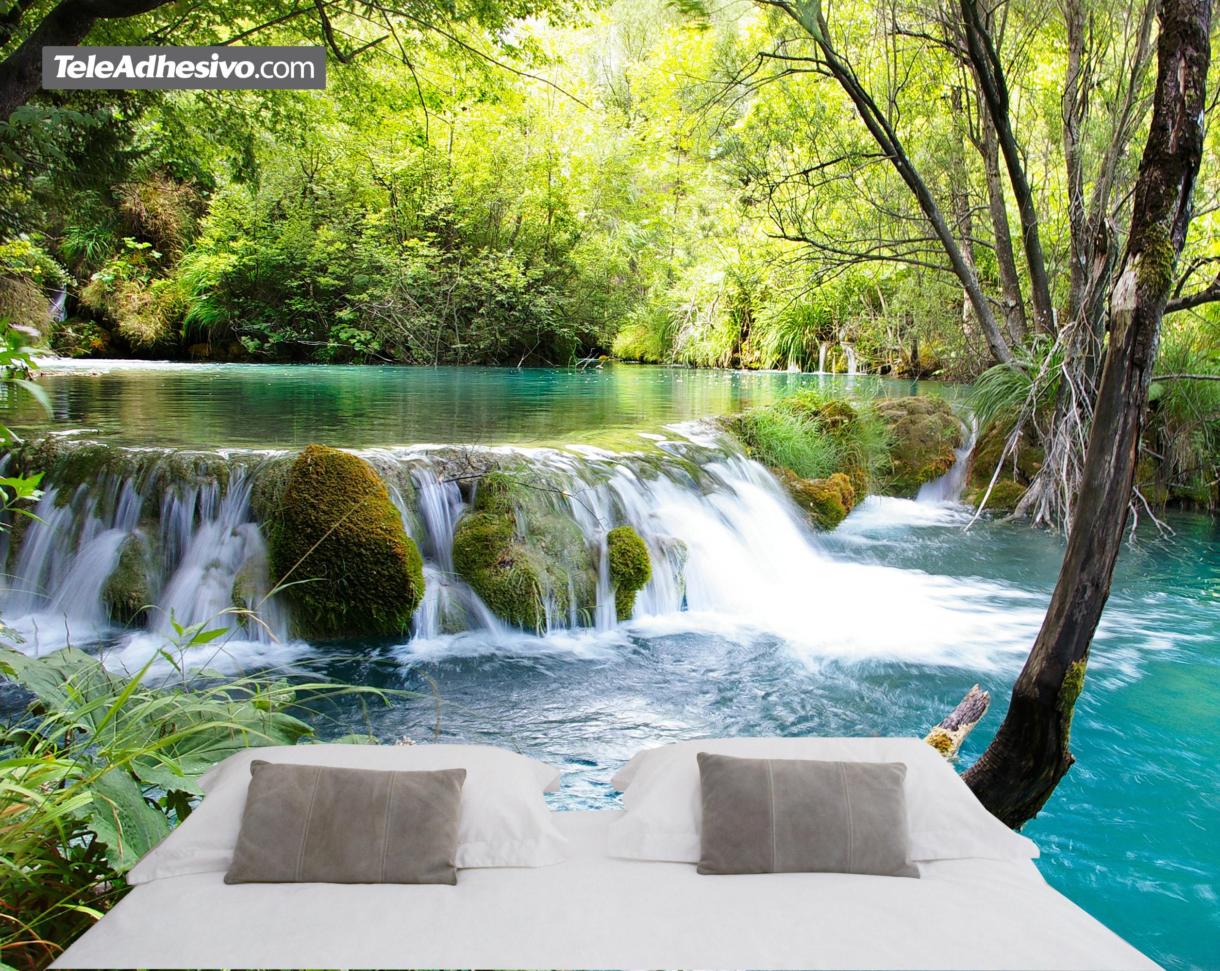 Fototapeten: Vegetation und der Fluss-und Wasserfall