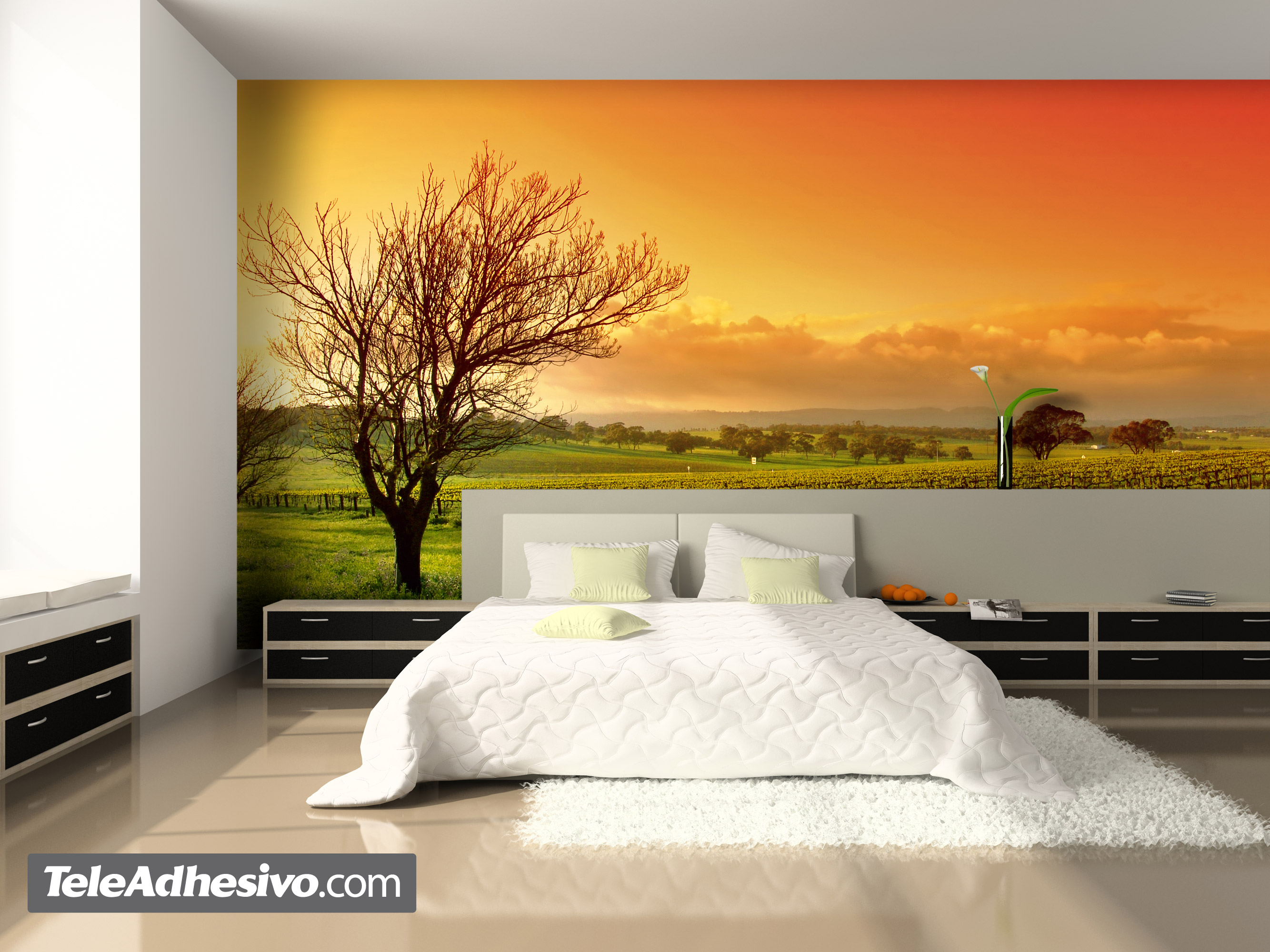 Sunset panorama weinberg for Vinilos para pared habitacion matrimonio