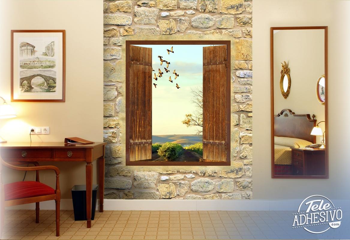 fototapete landschaft rustikal fenster. Black Bedroom Furniture Sets. Home Design Ideas