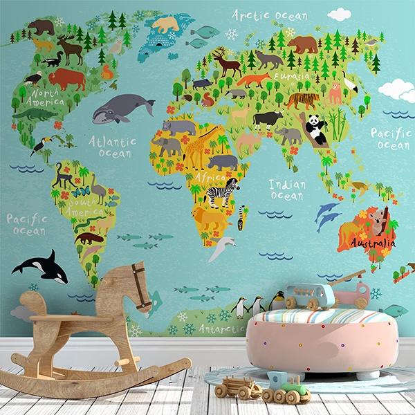 Fototapete Weltkarte Kinder Kontinente Und Tiere Webwandtattoo Com