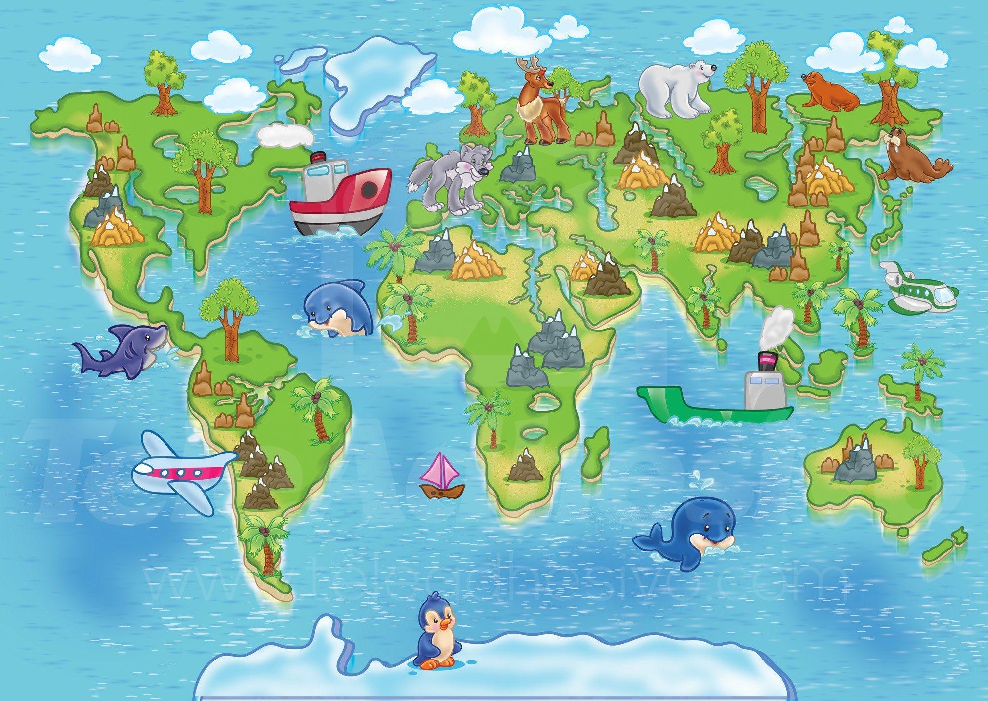 Fototapeten: Kinderweltkarte 3