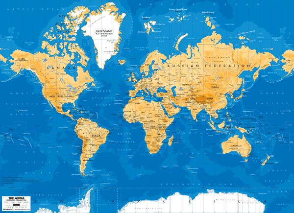 Fototapete World Map armer Ton   WebWandtattoo.com
