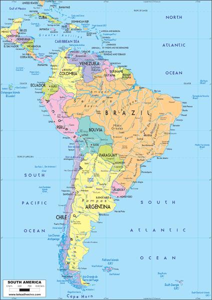 Fototapeten: South America Political 1