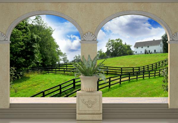 Fototapeten: Grüne Wiese und Bauernhaus