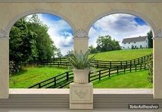 Fototapeten: Grüne Wiese und Bauernhaus 2
