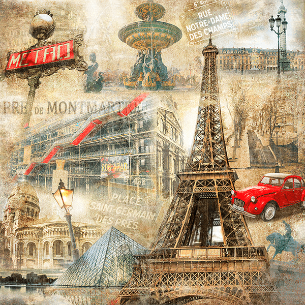Fototapeten: Collage von Paris