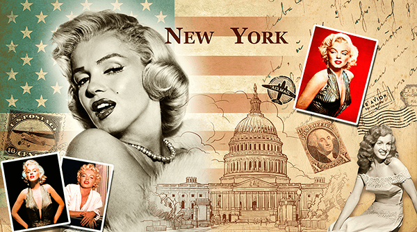 Fototapeten: Collage Marilyn Monroe