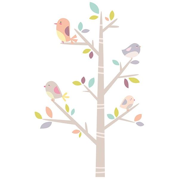 Wandtattoo kinder Baum der Vögel | WebWandtattoo.com