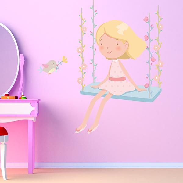 Wandtattoo babyzimmer mädchen kleines mädchen auf der ...