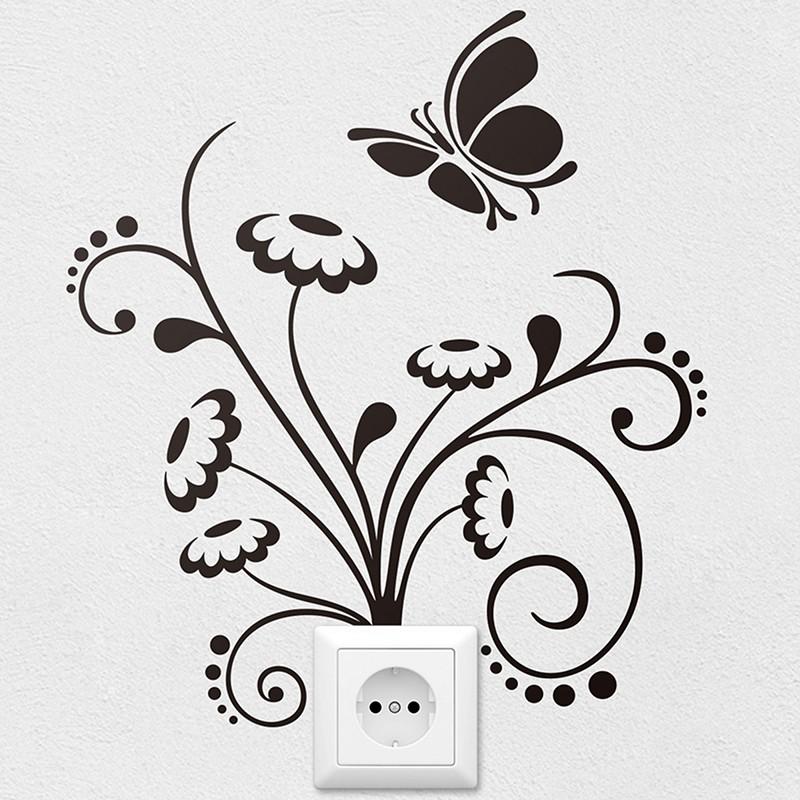 Wandtattoos: Floral Ornament und Schmetterling
