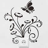 Wandtattoos: Floral Ornament und Schmetterling 2