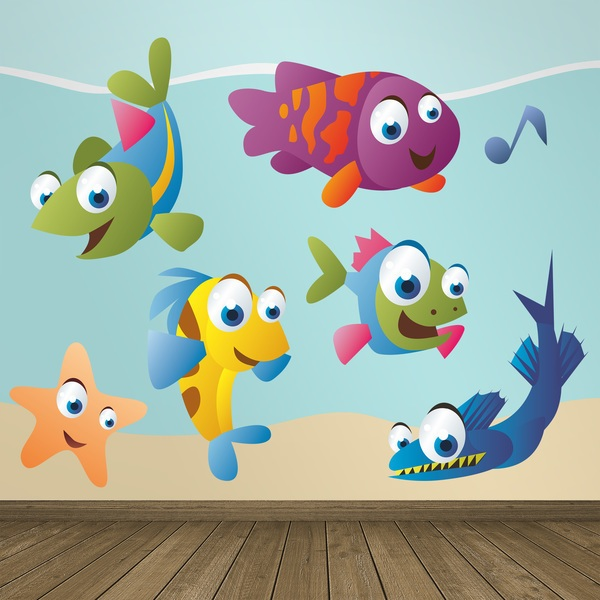 Kinderzimmer Wandtattoo: Aquarium Kit farbige Fische