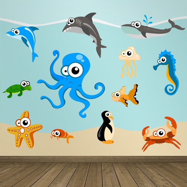 Kinderzimmer Wandtattoo: Kit Oktopus-Aquarium