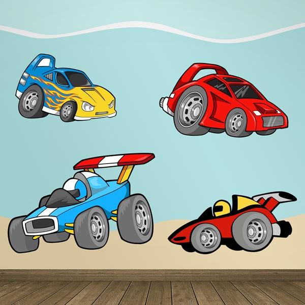 Wandtattoo kinder Schnelle Autos | WebWandtattoo.com